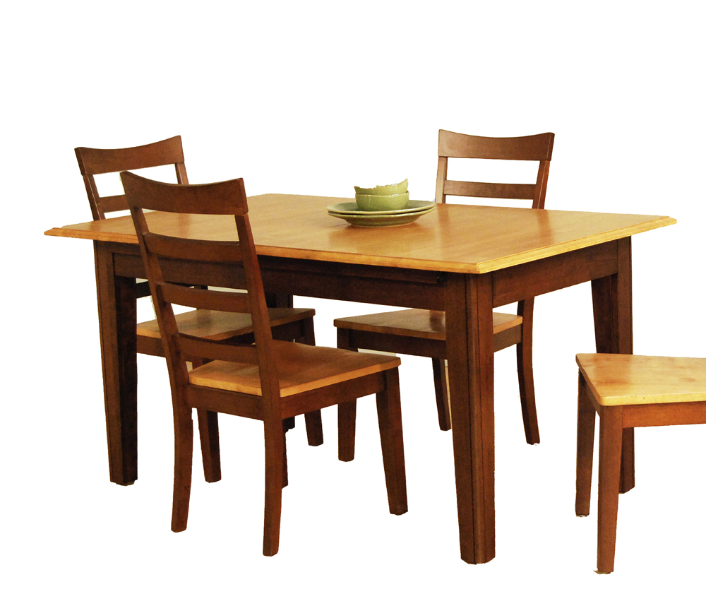 point 7 piece 78x42 butterfly leaf dining room set in honey chestnut