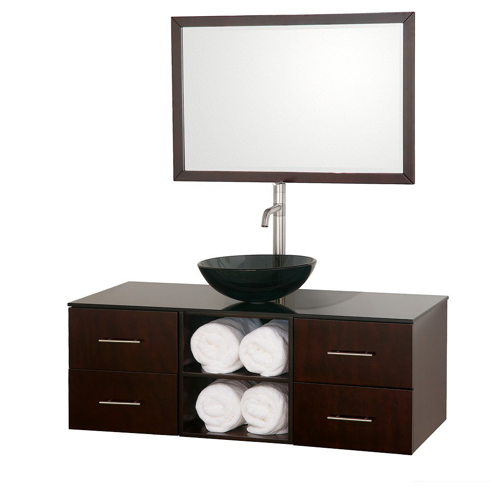 Vanity Single Sink : ... 48 Inch Smoke Glass Top Single Sink Vanity Set by Wyndham Collection