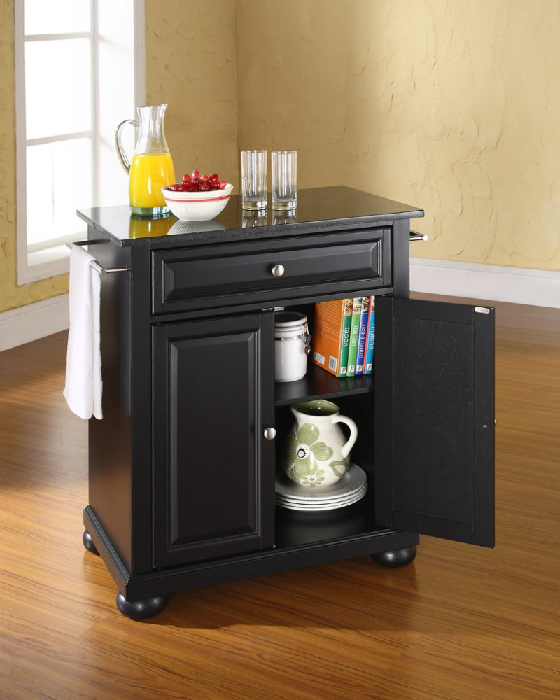 black granite top portable kitchen island in black efurniture mart