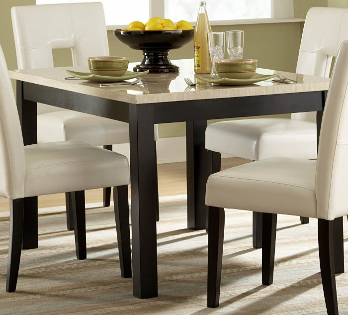 homelegance archstone 5 piece 48x36 dining room set w black chairs