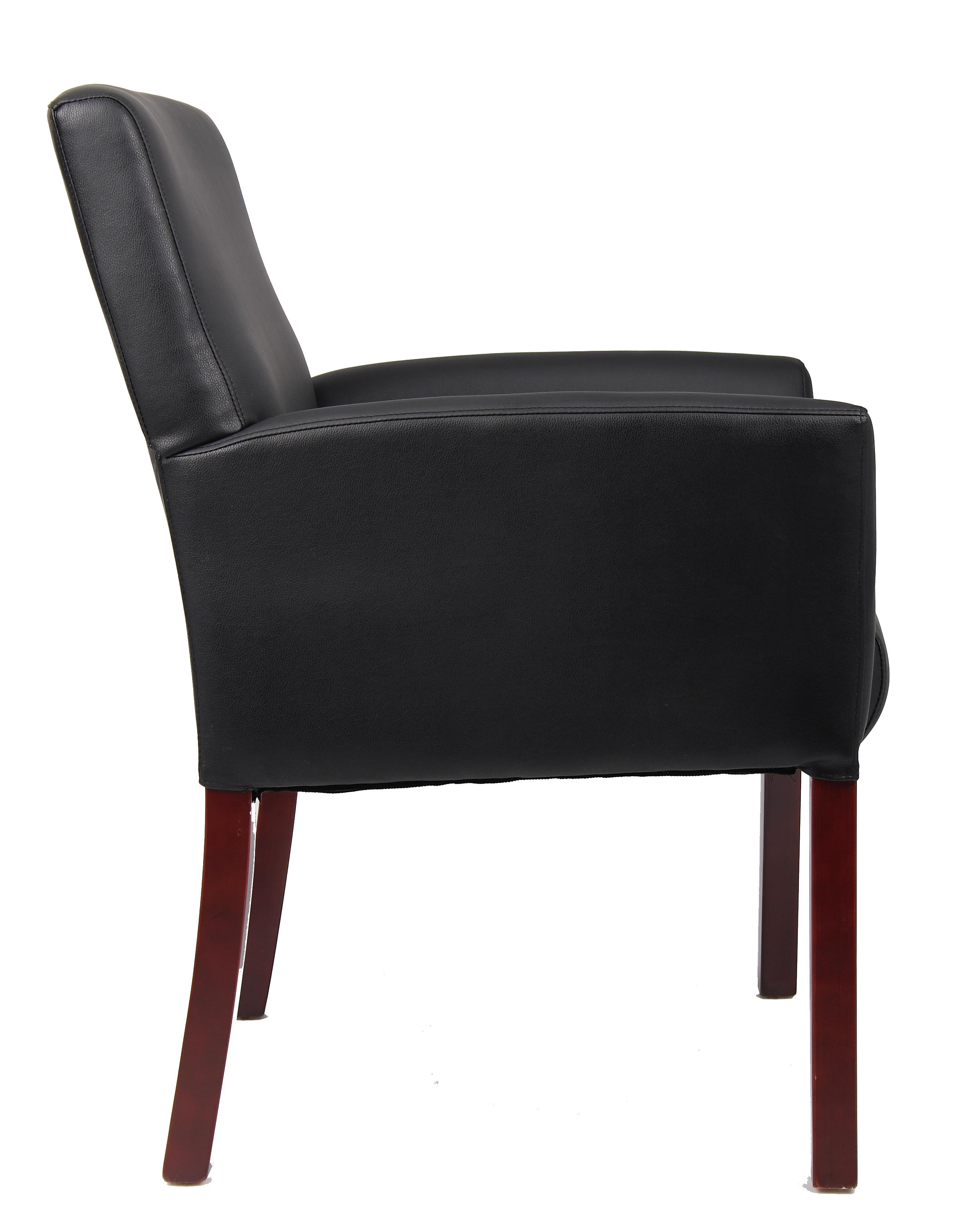 Bankers guest chair - Boss Chairs Box Arm Guest Chair W Mahogany Finish Efurniture Mart