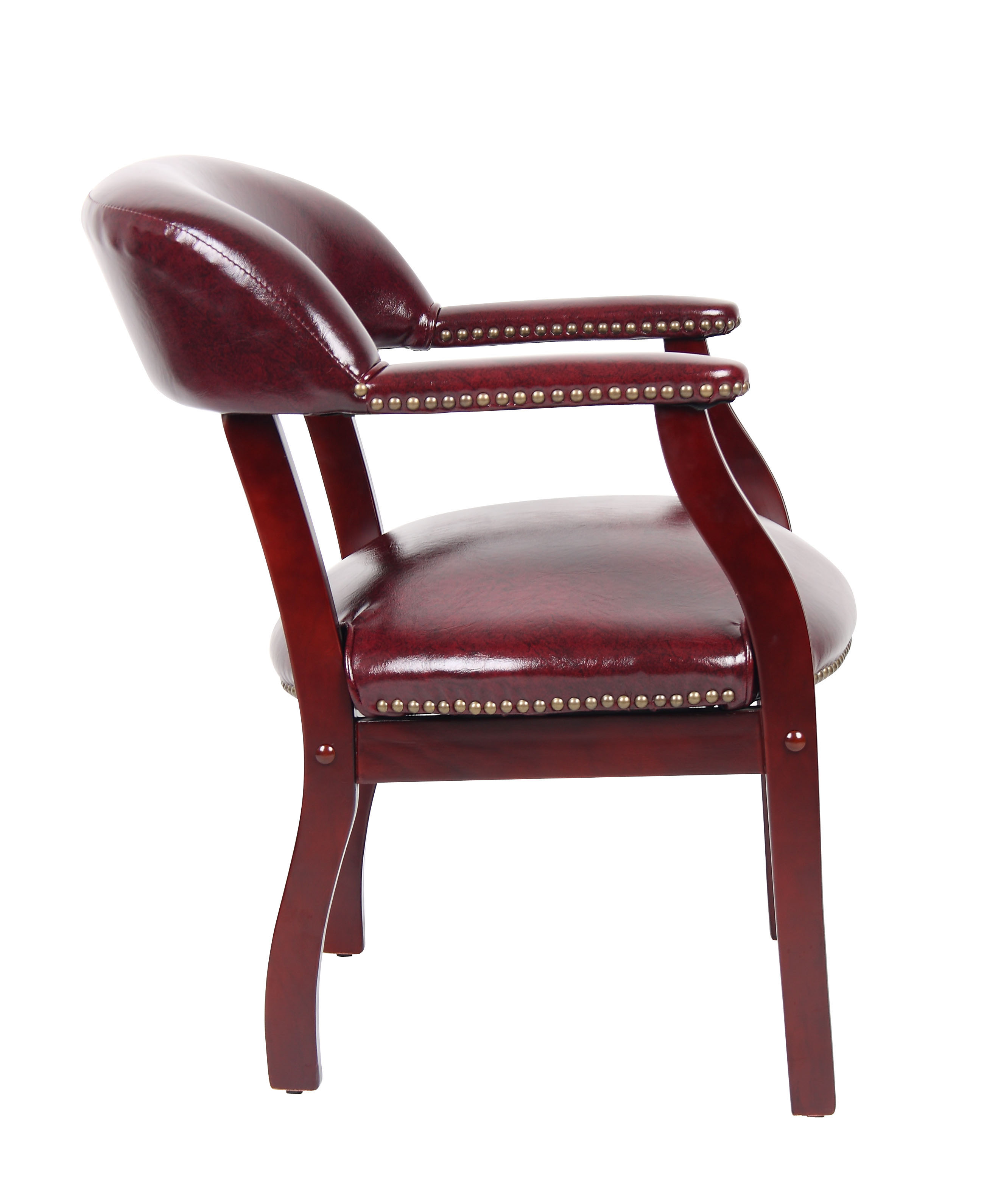 Boss Chairs Captain Chair In Burgundy Vinyl eFurniture Mart