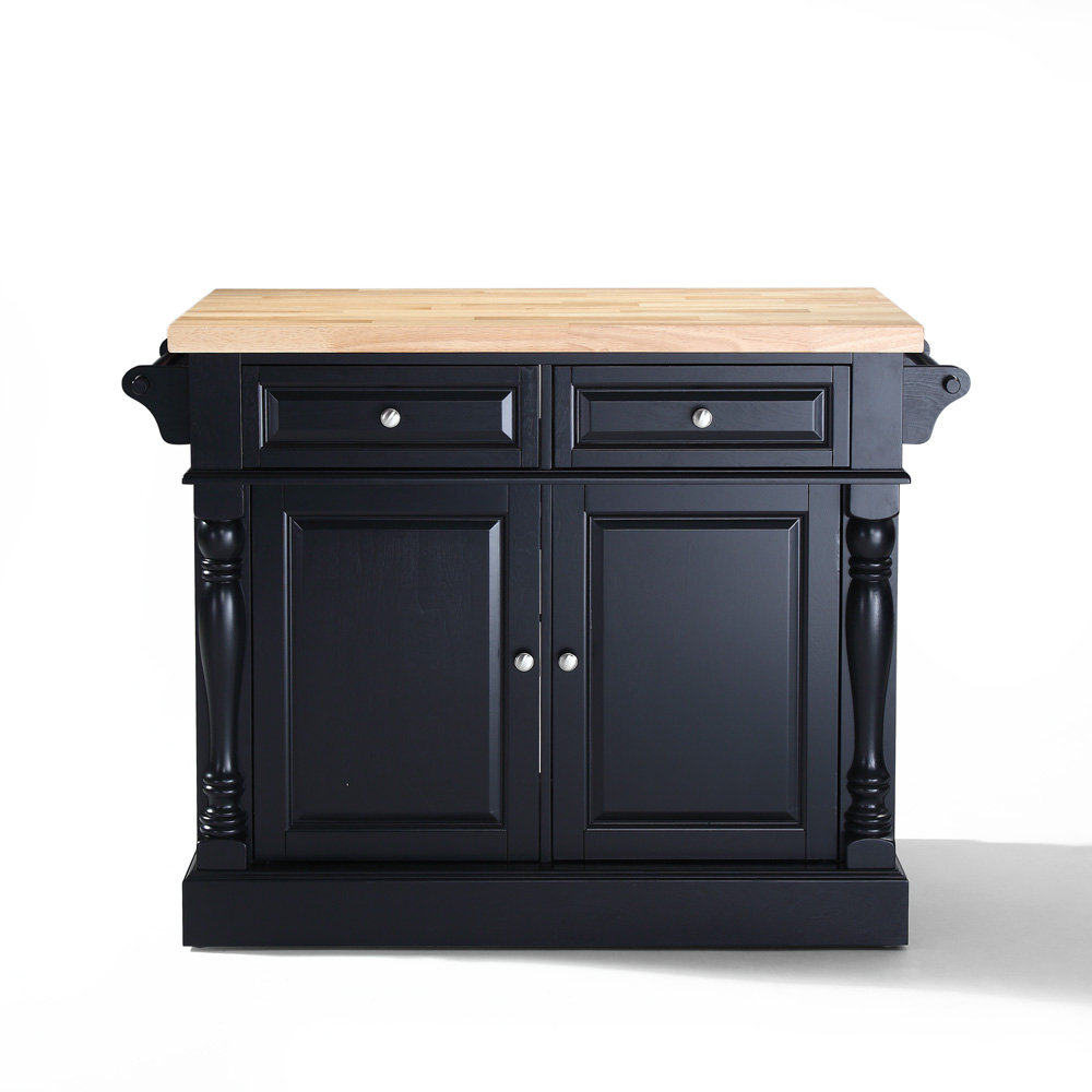 Butcher Block Kitchen Island in Black by Crosley Furniture
