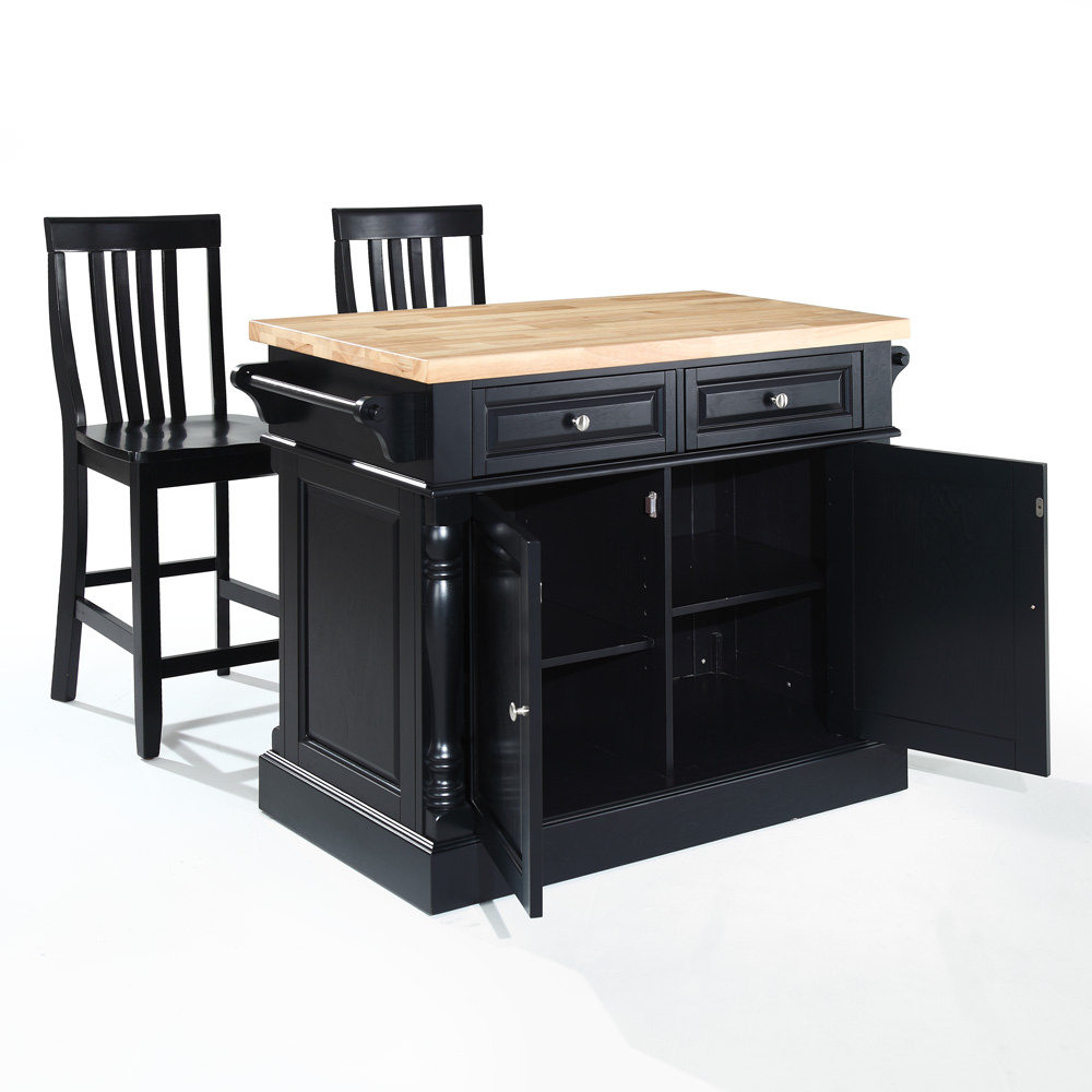 crosley furniture butcher block top kitchen island in