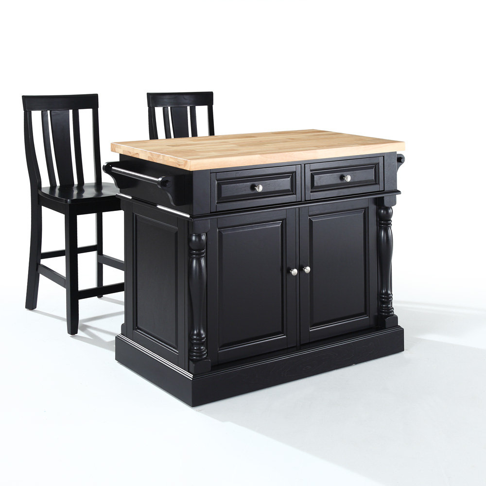 butcher block kitchen island by crosley furniture in black