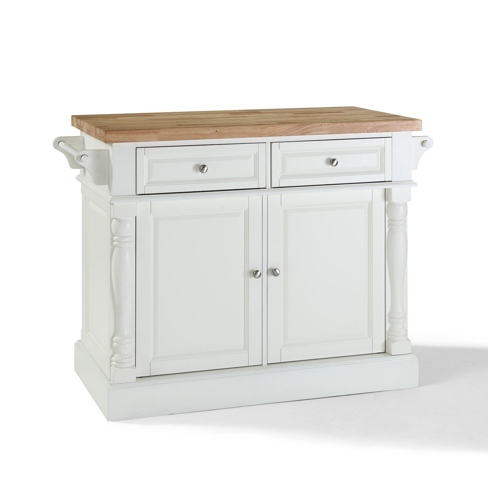 crosley furniture 48x23 butcher block top kitchen island in white
