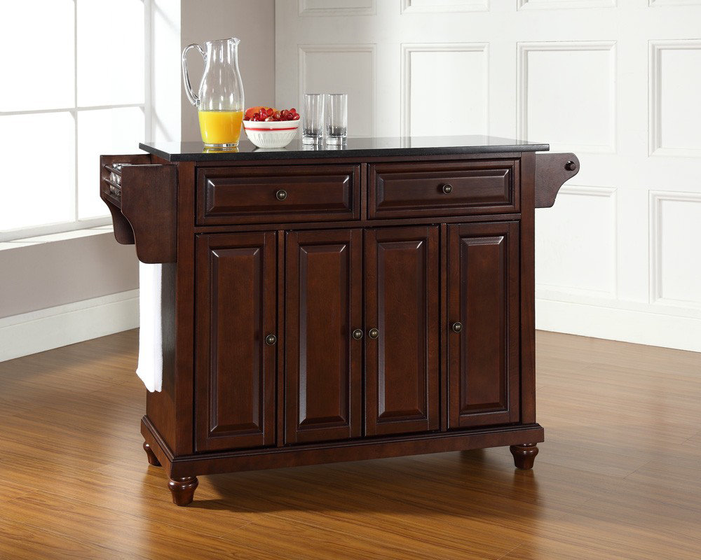 crosley furniture cambridge solid black granite top kitchen island in