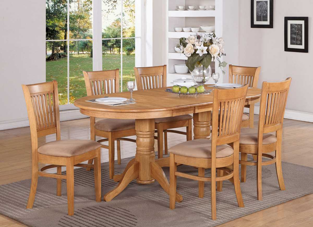 east west furniture vancouver 7 piece 76x40 oval dining