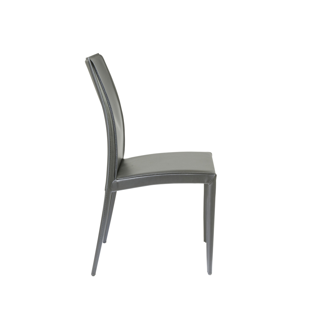 Eurostyle Dafney Side Chair in Gray Leather Set of 2