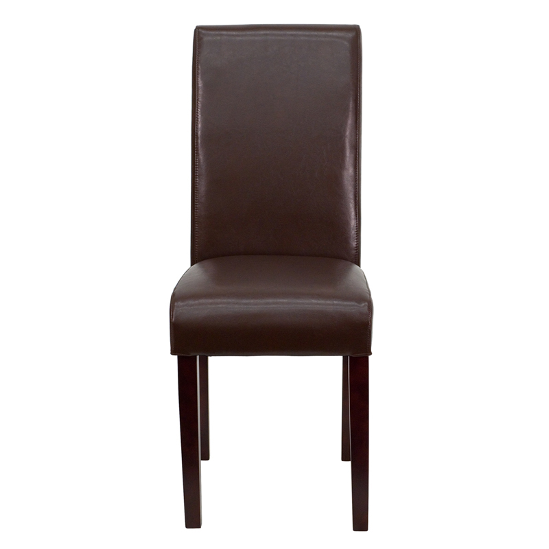 Flash Furniture Dark Brown Leather Upholstered Parsons