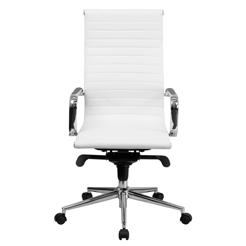 furniture high back white ribbed upholstered leather executive office