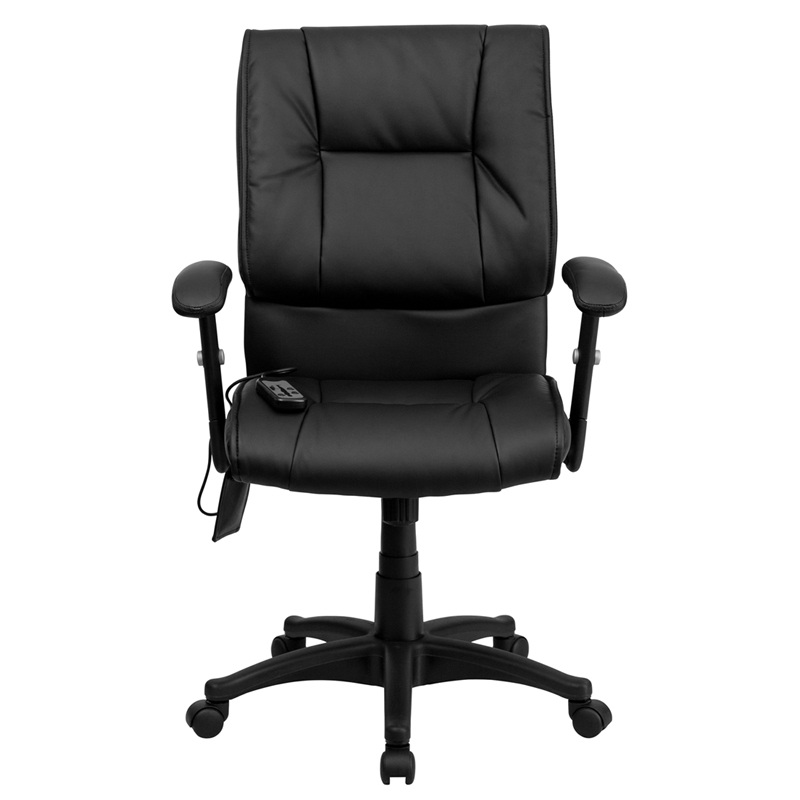 Flash Furniture Mid Back Massaging Black Leather Executive