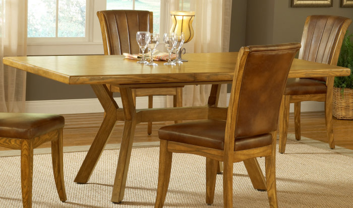 piece 60x40 rectangle dining room set w caster chairs in medium oak