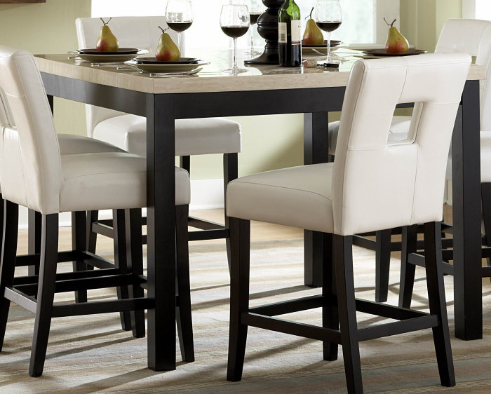 homelegance archstone 7 piece 48x48 counter height set w white stools