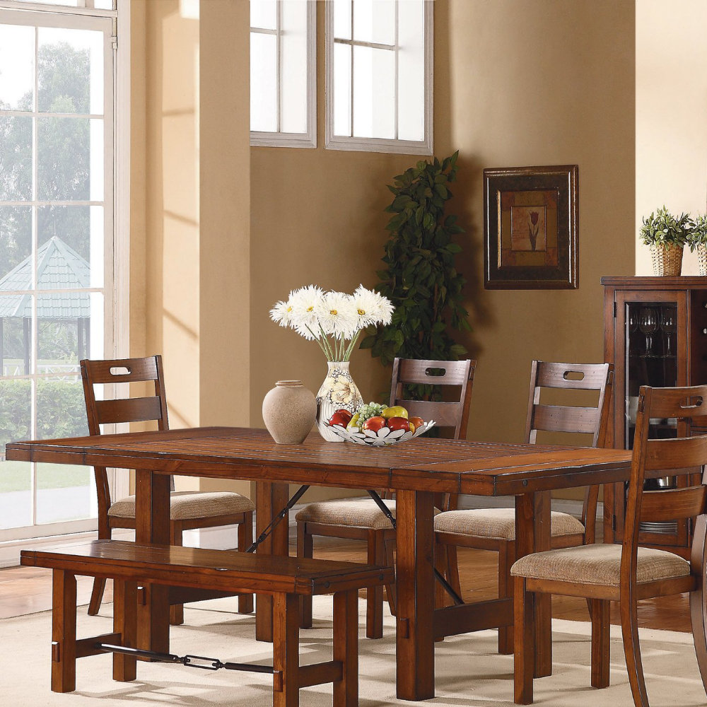Clayton 6 Piece Dining Room Set W Bench In Dark Oak EFurniture Mart