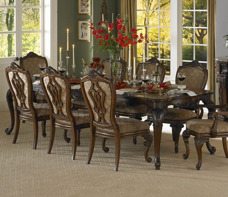 homelegance cromwell 9 piece 76x44 dining room set in cherry