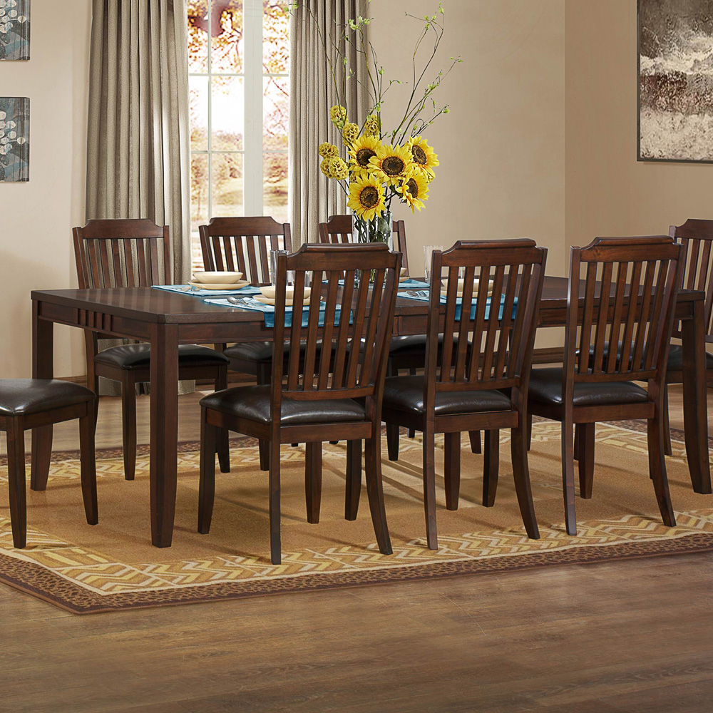 homelegance dickens 9 piece 74x42 dining room set in brown cherry