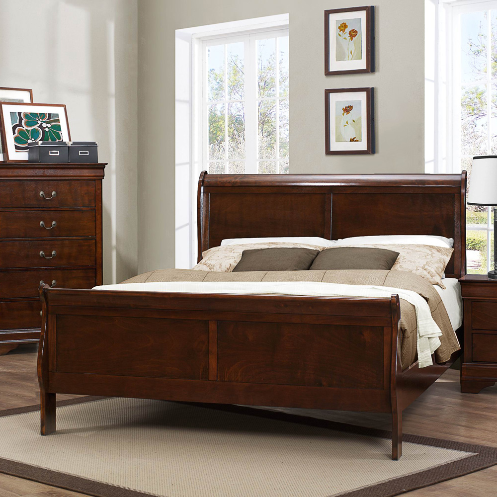 mayville 4 piece sleigh bedroom set in brown cherry efurniture mart
