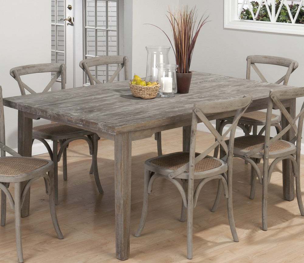 jofran burnt grey 7 piece 72x42 dining room set w linen seat side