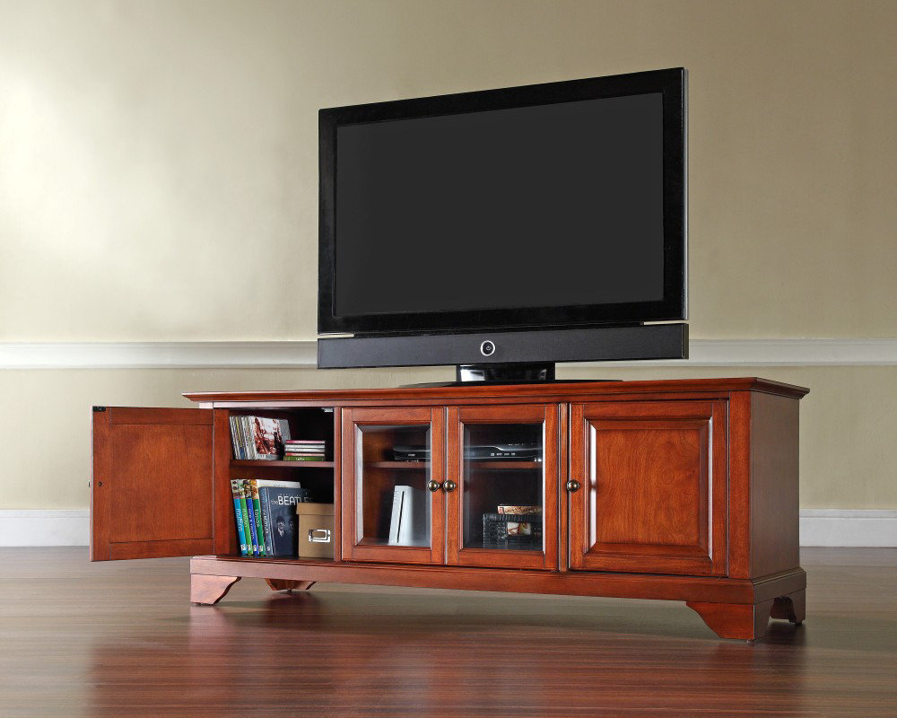 ... 60 Inch Low Profile TV Stand in Classic Cherry - eFurniture Mart