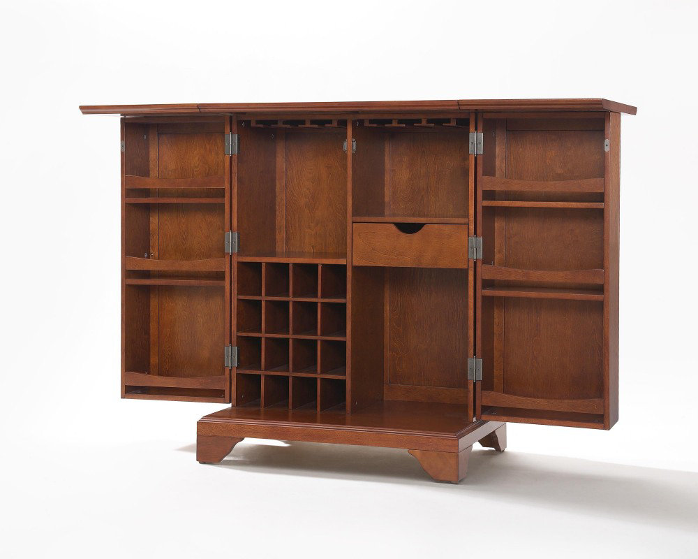 lafayette expandable bar cabinet in classic cherry efurniture mart