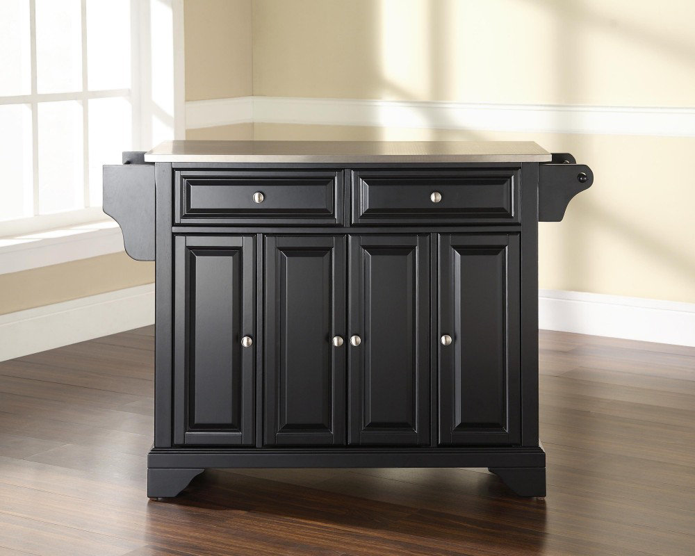 Furniture LaFayette 52×18 Stainless Steel Top Kitchen Island in Black