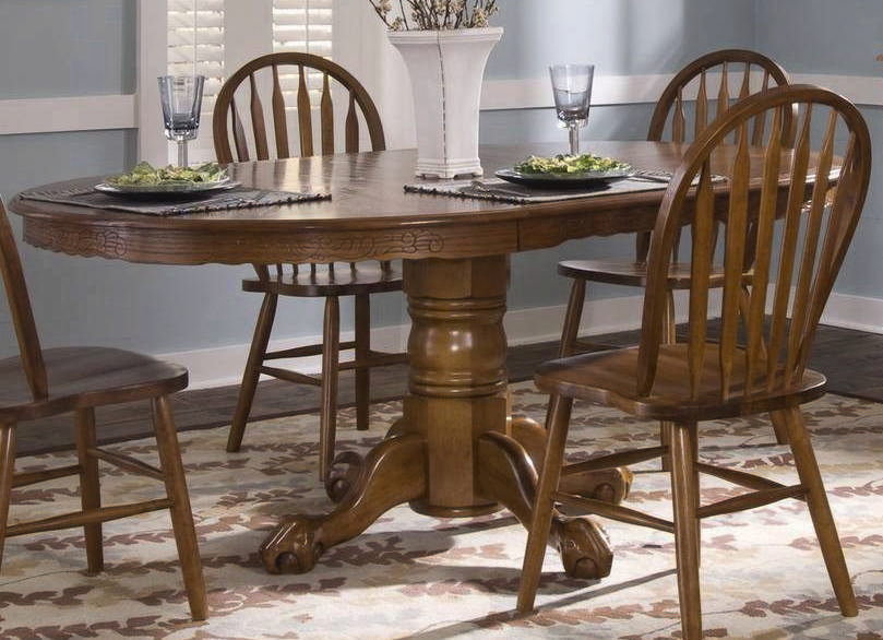 liberty furniture nostalgia 5 piece oval 72x48 dining room set in oak