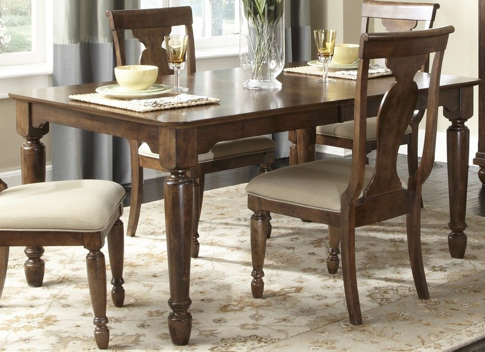 rustic tradition 7 piece 66x42 dining room set in cherry medium wood