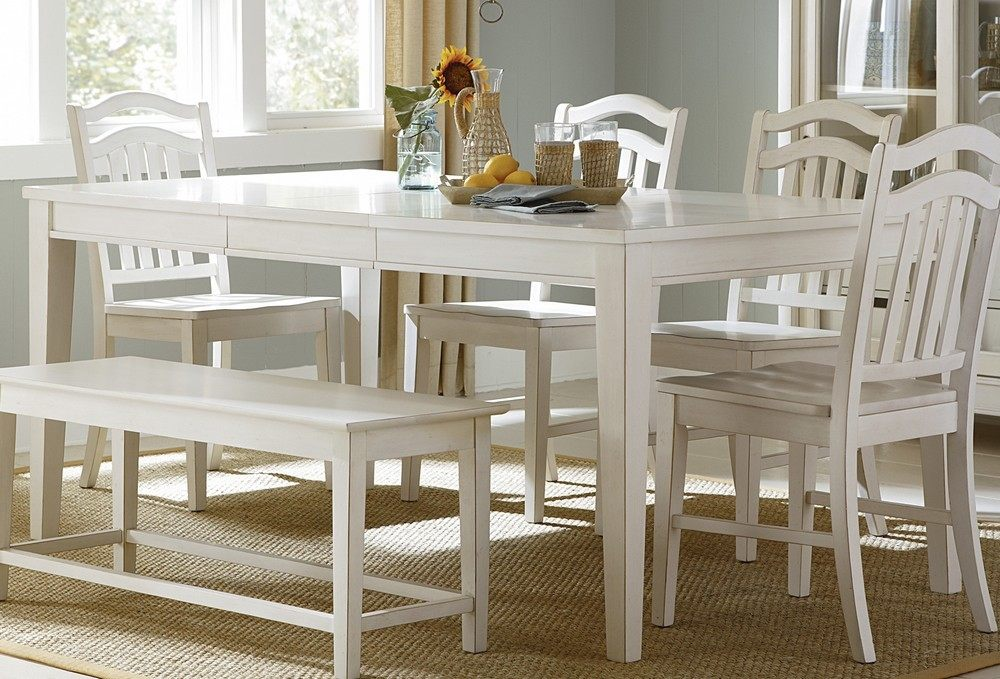 White Dining Room Table With Bench And Chairs Home Decorating