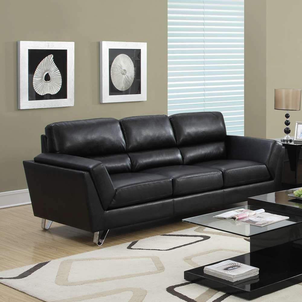 monarch specialties black bonded leather 3 piece living room set
