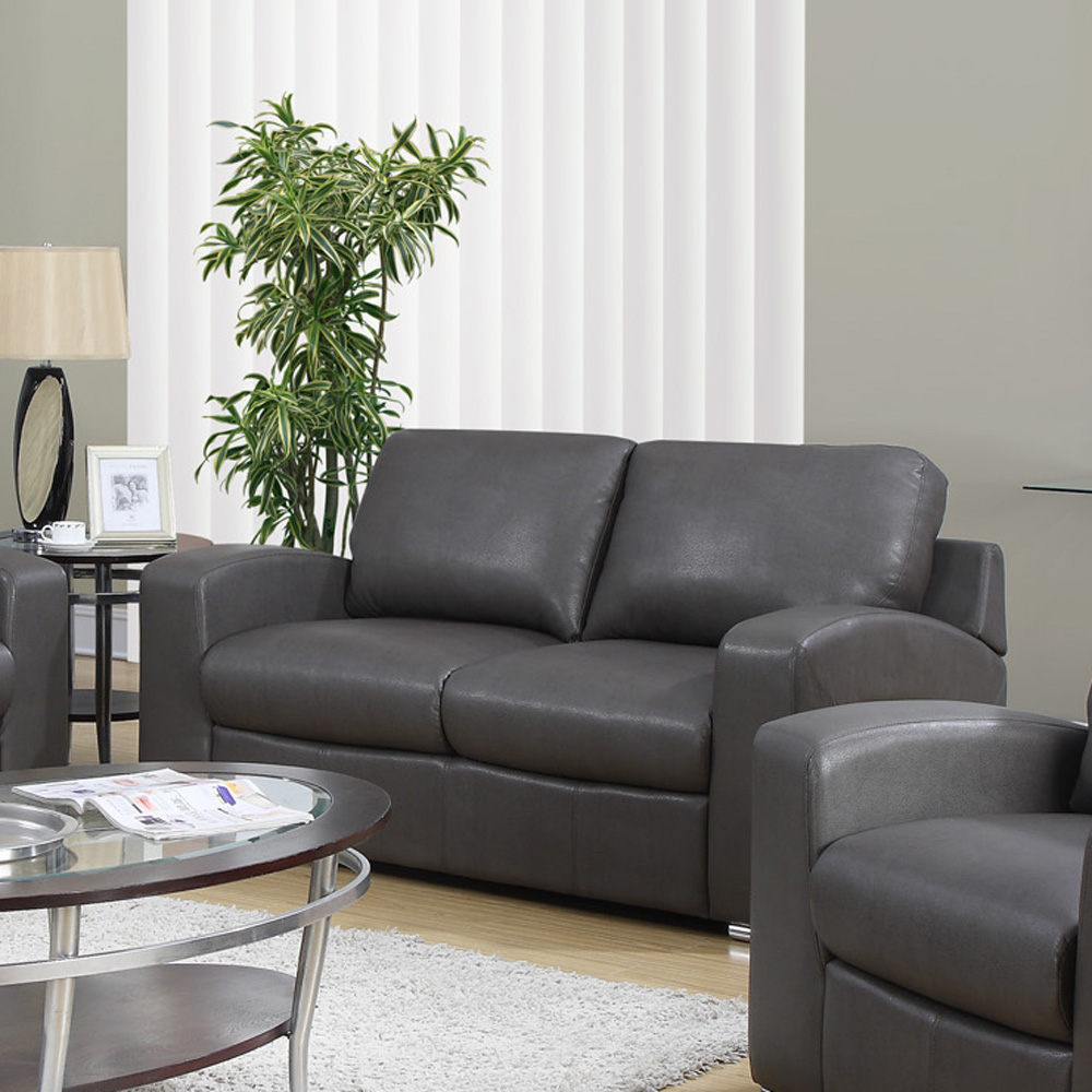 specialties charcoal grey bonded leather match 3 piece living room set