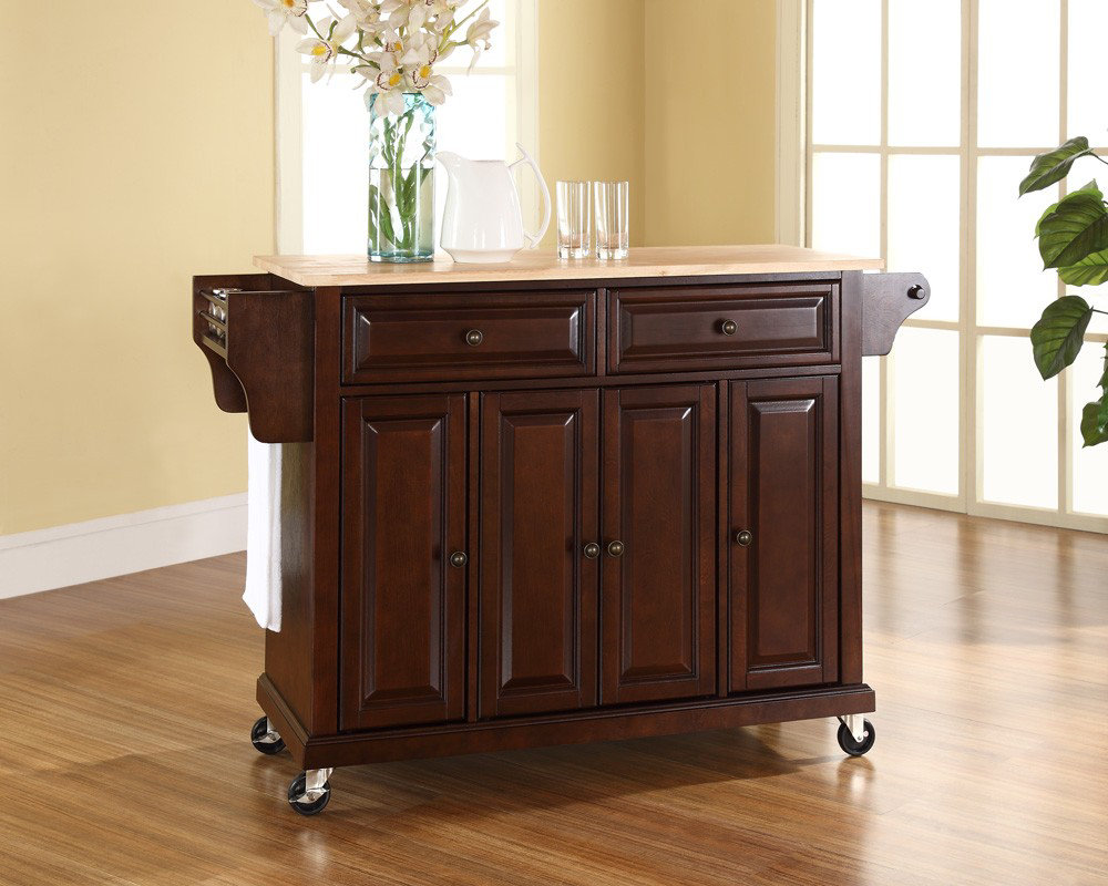 crosley furniture natural wood top kitchen cart island in 25 portable kitchen islands rolling amp movable designs