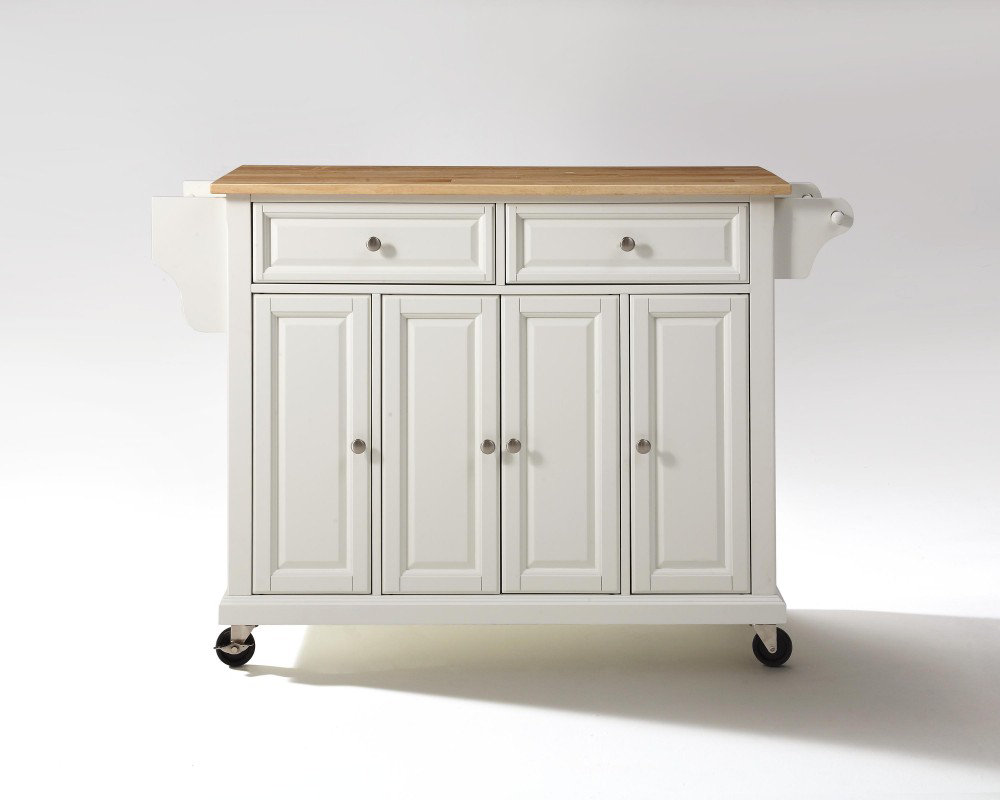 crosley furniture 52x18 natural wood top kitchen cart island in white