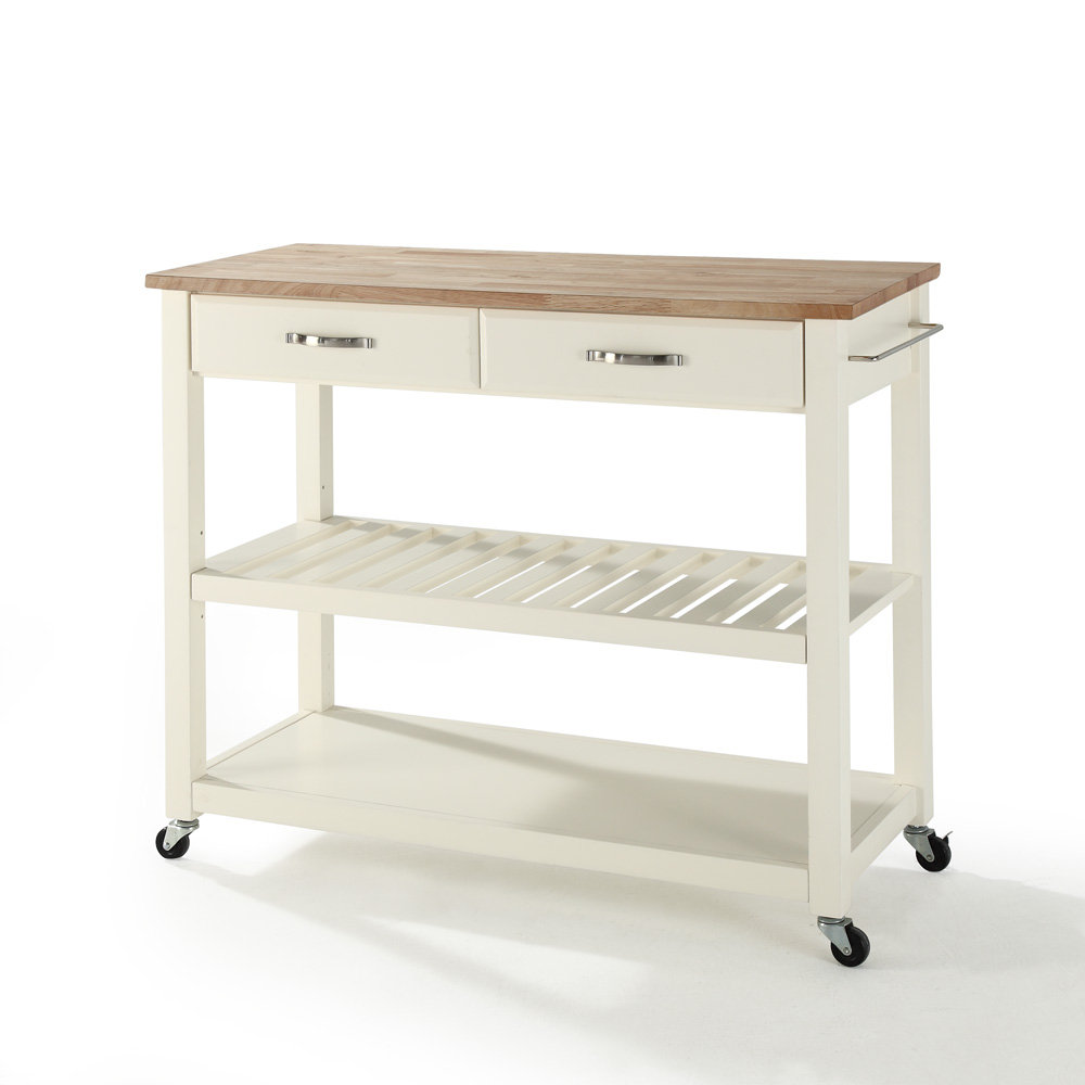 Crosley Furniture Natural Wood Top Kitchen Cart/Island w/ Optional