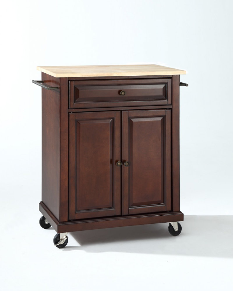 Crosley Furniture Natural Wood Top Portable Kitchen Cart