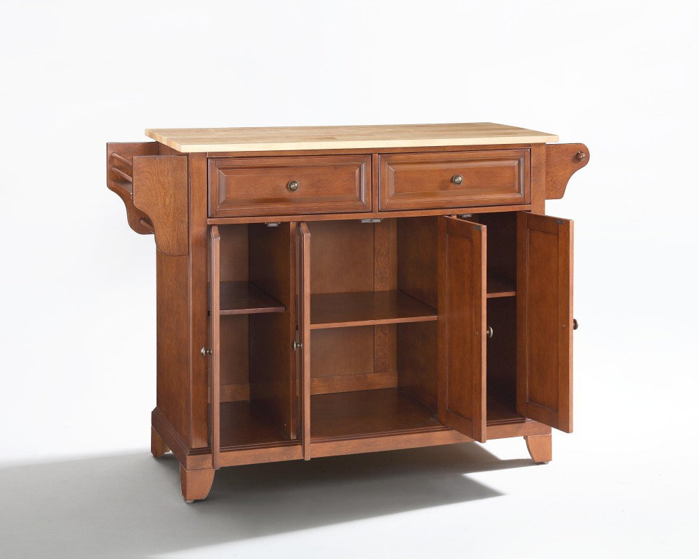 crosley furniture newport natural wood top kitchen island