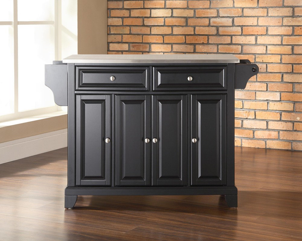 Newport Stainless Steel Top Kitchen Island in Black eFurniture Mart