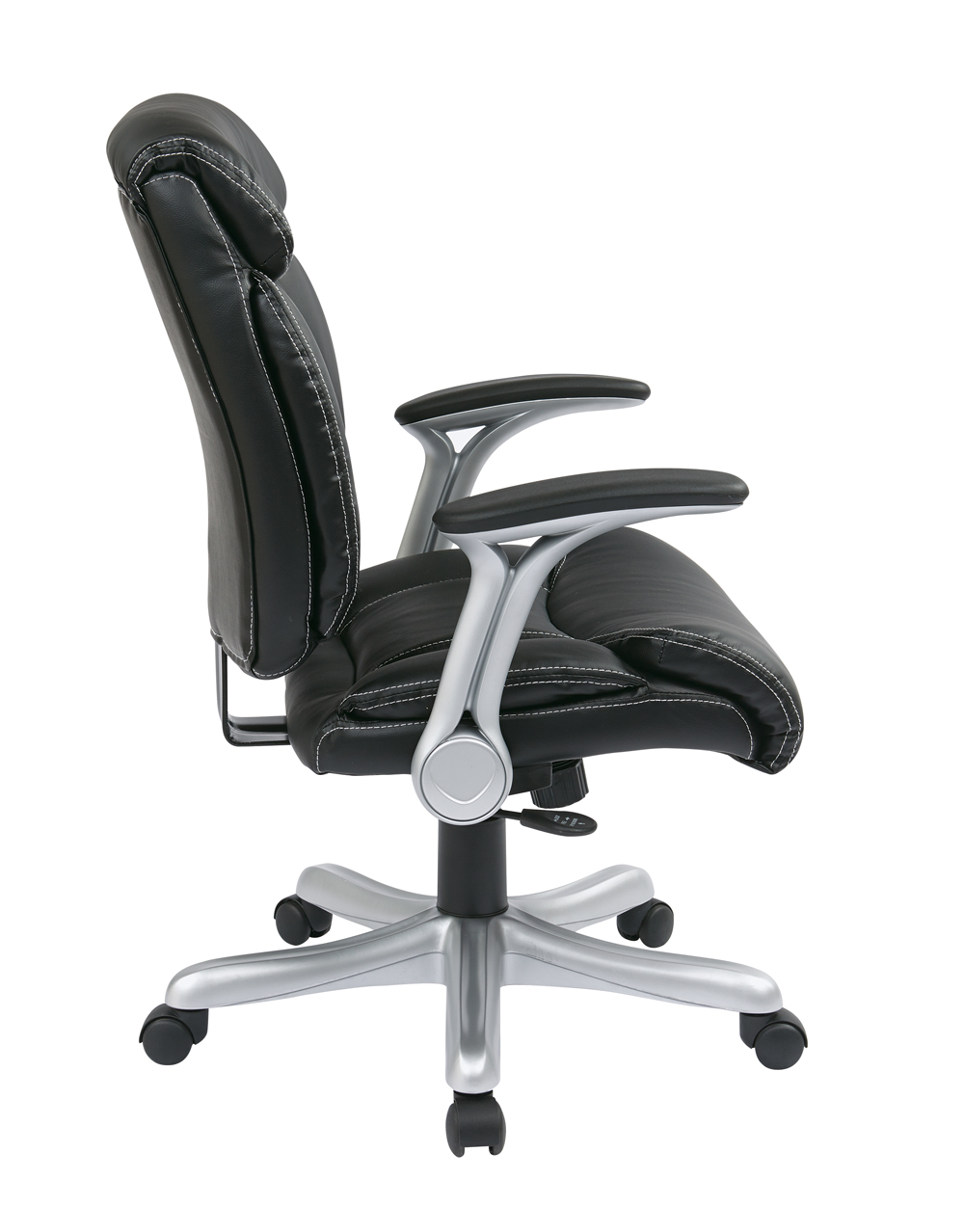 office star products executive eco leather chair in silver black