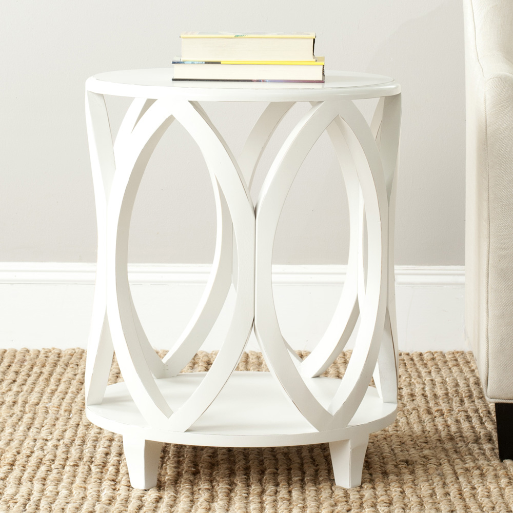 Janika 20 Inch Round Accent Table In Off White EFurniture Mart