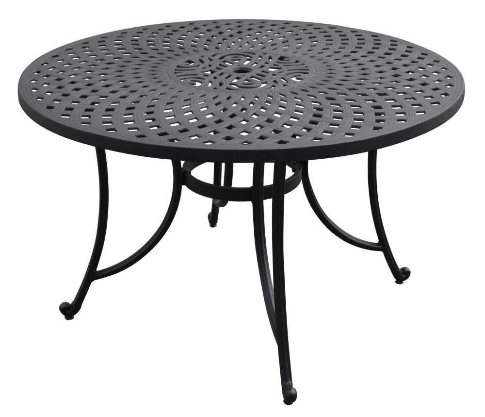 48 inch cast aluminum dining table in charcoal black efurniture mart