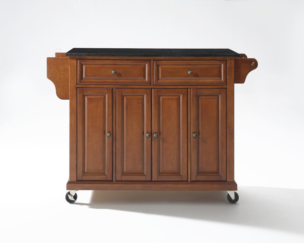 52x18 Solid Black Granite Top Kitchen Cart Island In Classic Cherry