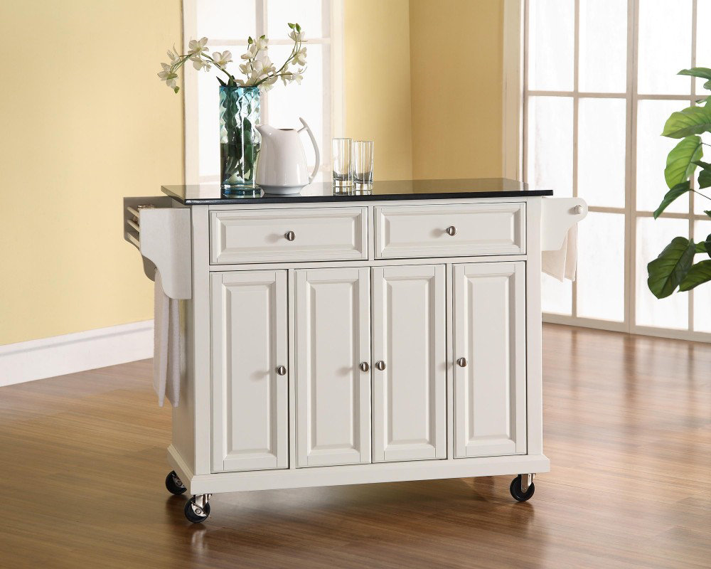 ... Solid Black Granite Top Kitchen Cart/Island in White - eFurniture Mart