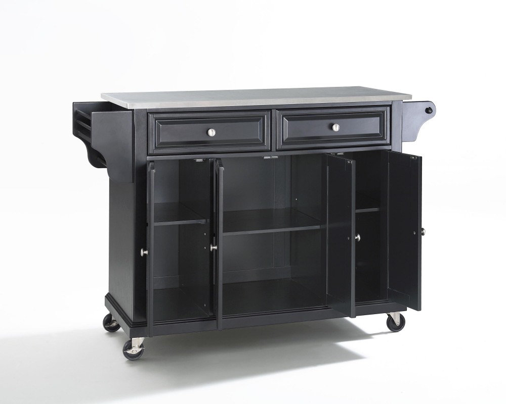 Crosley Furniture Stainless Steel Top Kitchen Cart Island in Black