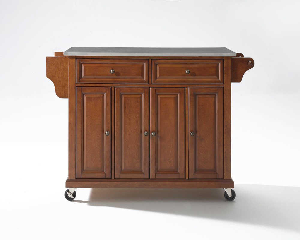 steel top kitchen cart island in classic cherry efurniture mart