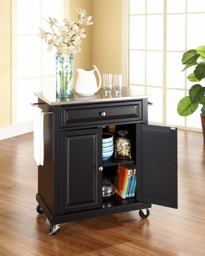 Crosley furniture stainless steel top portable kitchen cart island in