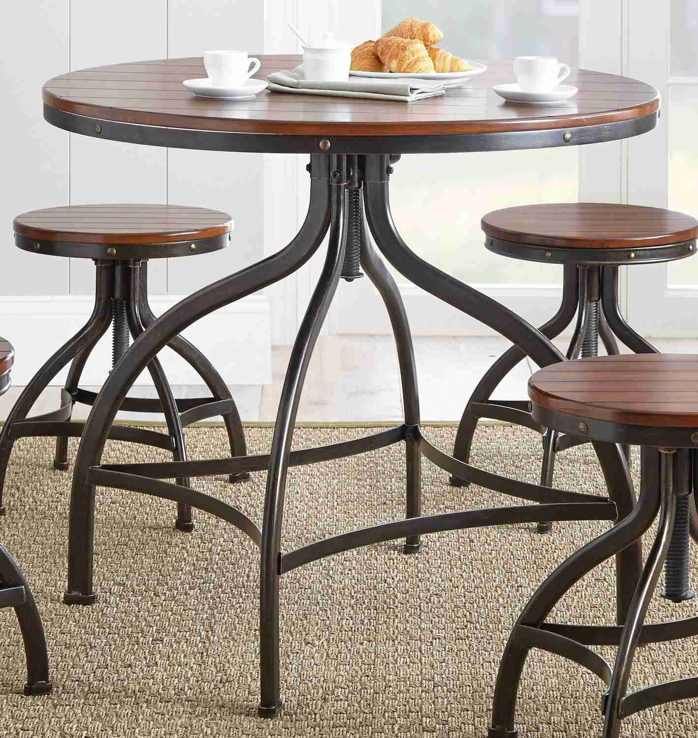 steve silver fiona 5 piece 36 inch round dining to counter