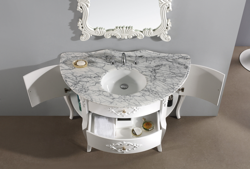White Single Sink Vanity : ... Single Sink Bathroom Vanity in White w/ Italian Carrara White Marble