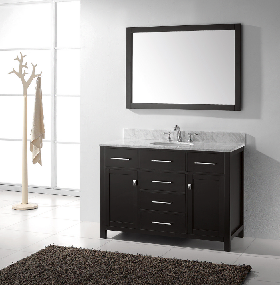caroline 48 inch single sink bathroom vanity in espresso by virtu usa