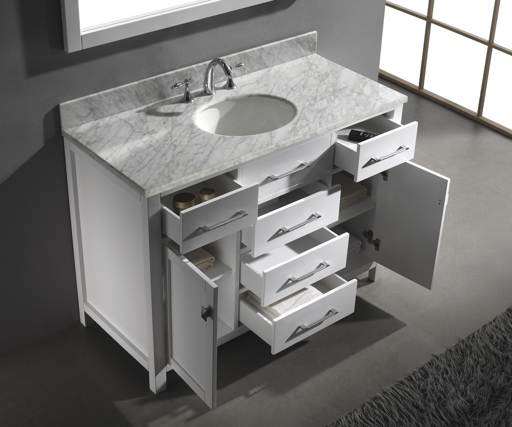 Caroline 48 inch single sink bathroom vanity in white by virtu usa