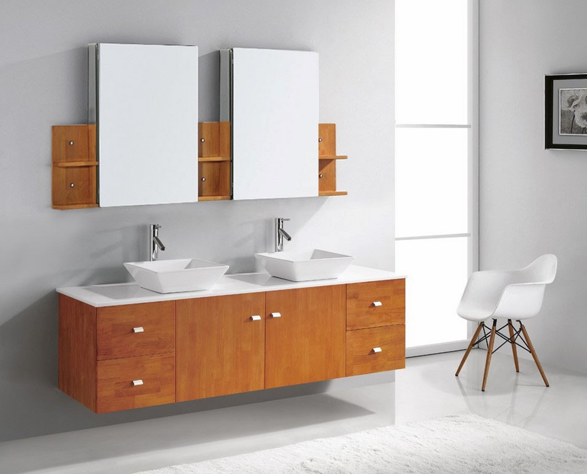 inch double bathroom vanity cabinet set in honey oak efurniture mart
